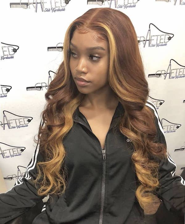 champagne blonde highlights for dark skin
