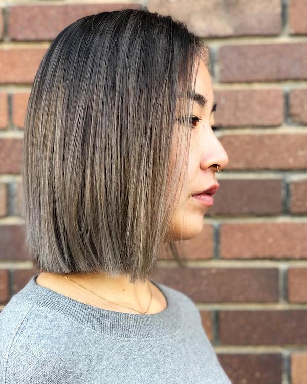 short brown balayage for Asian hair