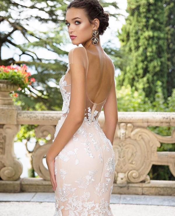backless wedding dress with bun