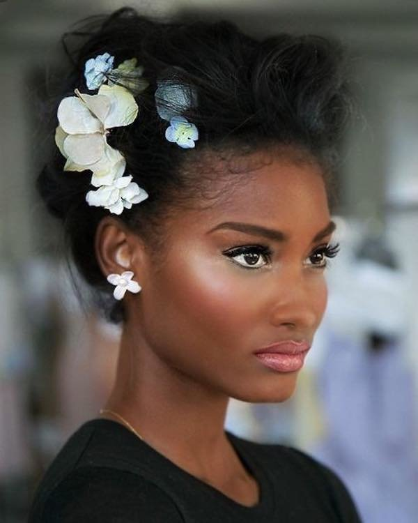 Black bride with messy updo