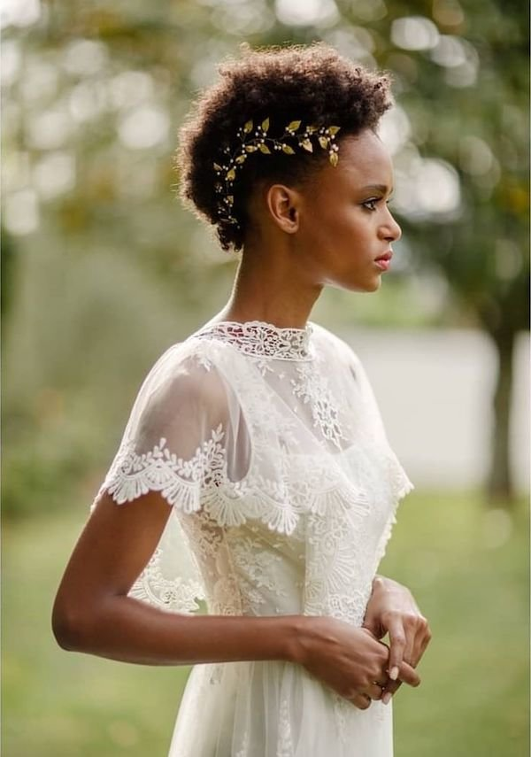 Black bride shaved side hairstyle