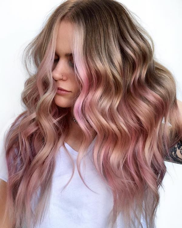 blonde with dusty pink highlights