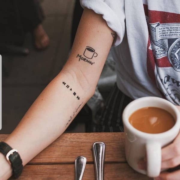 coffee cup mini tattoo