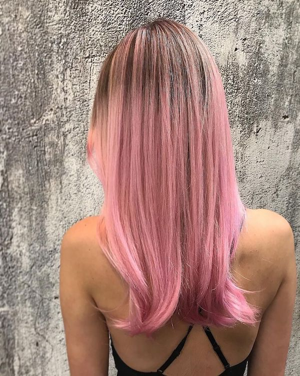 long dusty pink hair color