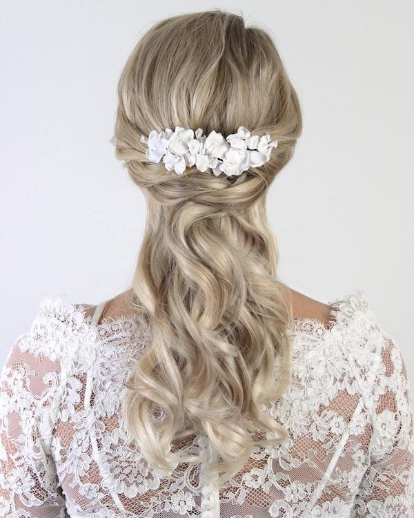 lace back with half up half down crown braid