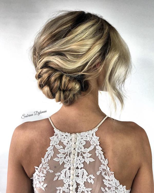 lace back with side twist braid updo