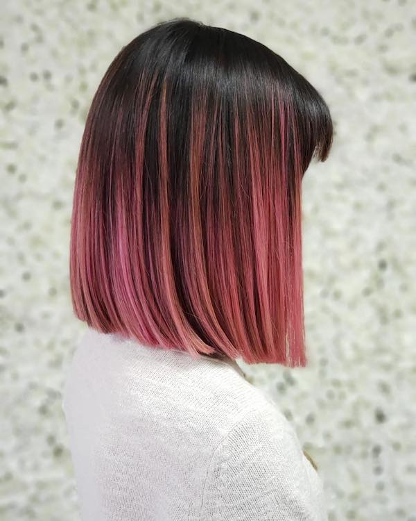pink balayage for short Asian hair
