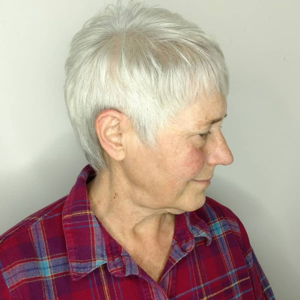 Fine Hair Pixie for Women Over 50 with Gray Hair