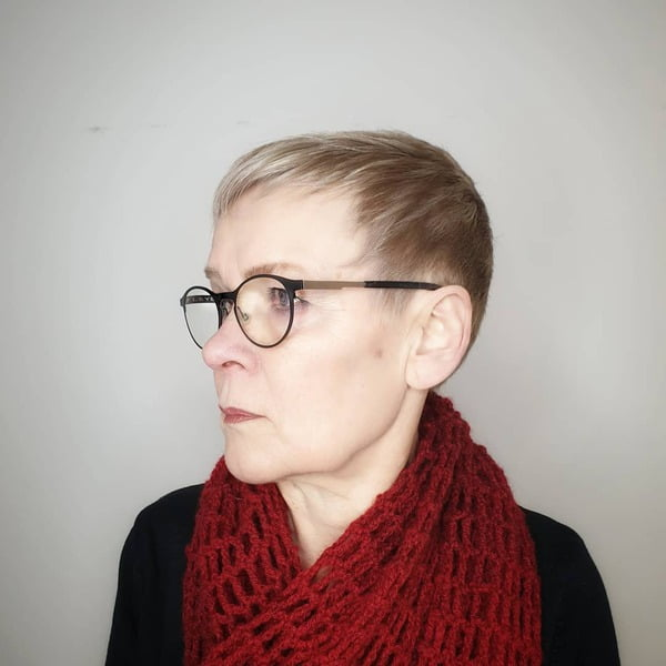 Fine Hair Pixie Over 50 with Glasses