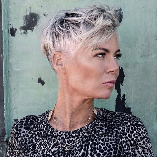 Messy Pixie for Women Over 50 with Gray Hair