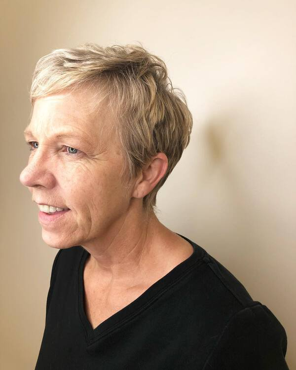 Side Part Pixie for Blondes Over 50