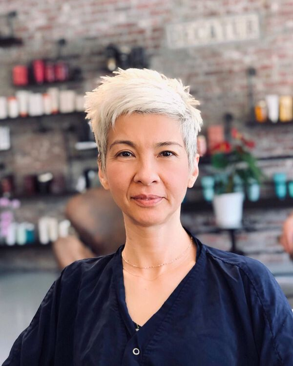 Side Styled Pixie for Asian Women Over 50