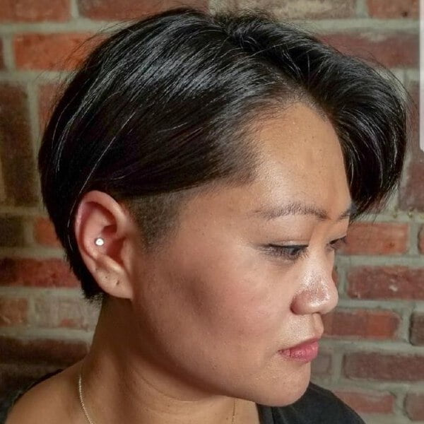 Shaved Undercut Bob for Asian Women Over 50