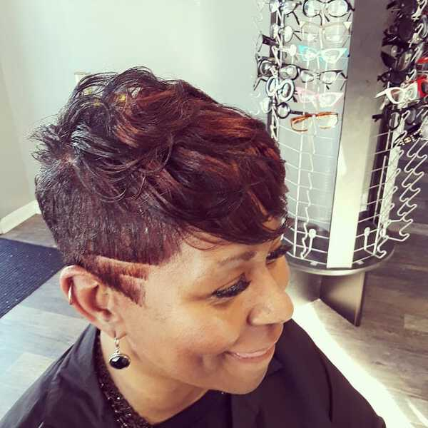Undercut Pixie for Dark Skin Over 50