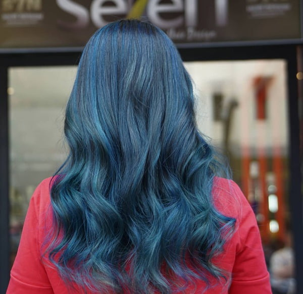 Aegean Blue Black Balayage Hair Color