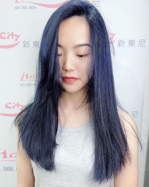 Ash Blue Black Hairstyle for Asian Hair