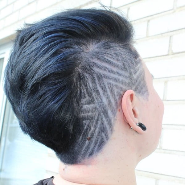 Ash Blue Black Shaved Hairstyle