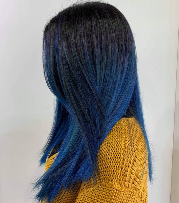 Peacock Blue Black Balayage Hairstyle