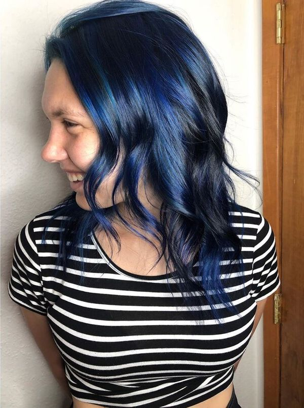 Cobalt Blue Black Medium Hairstyle