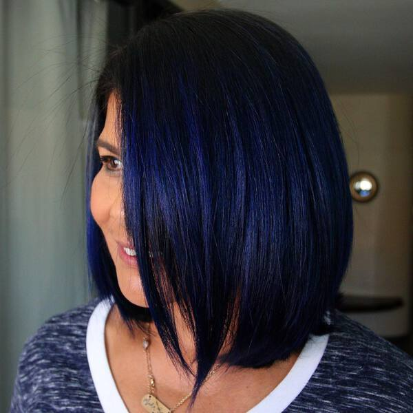 Dark Blue Black Short Hairstyle