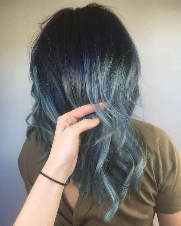 Denim Blue Black Balayage for Long Hair