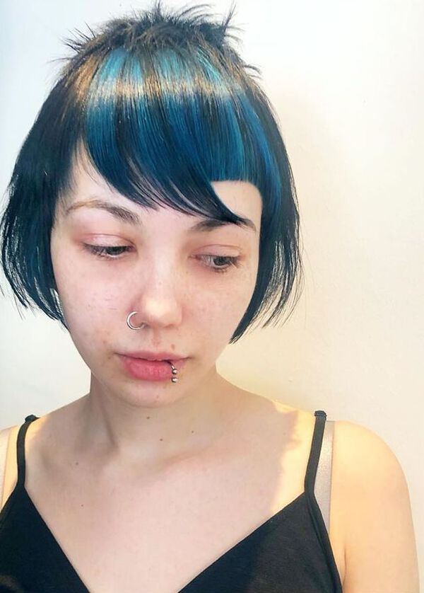 Electric Blue Black Short Hairstyle