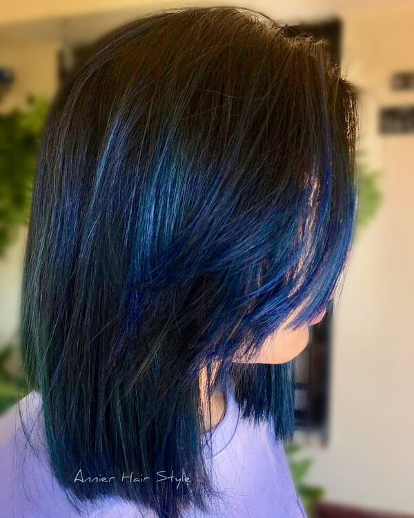 Iridescent Blue Black Asian Hair Color