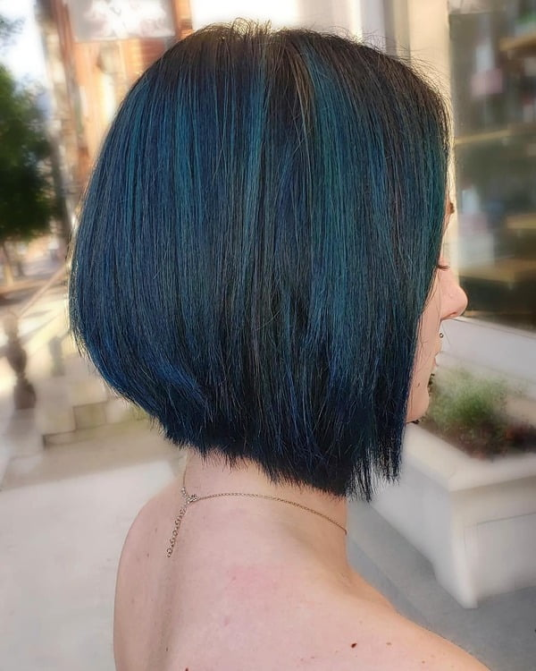 Iridescent Blue Black Balayage Bob