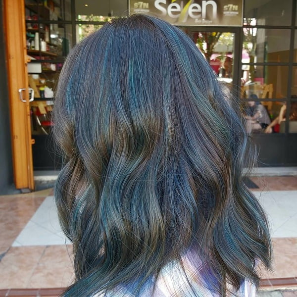 Iridescent Blue Black Hair Color for Long Hair