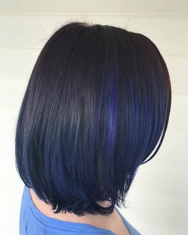Navy Blue Black Asian Bob