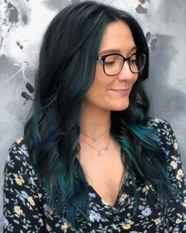 Ocean Blue Black Hair Color