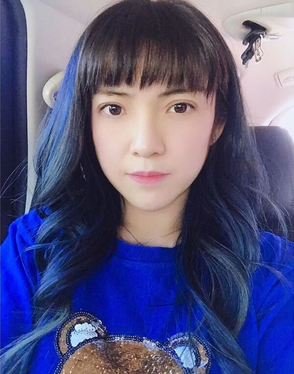 Royal Blue Highlights for Asian Hair
