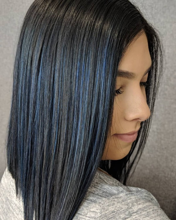 Royal Blue Black Straight Hairstyle