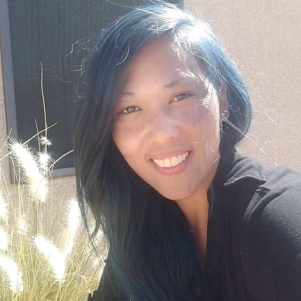 Teal Blue Black Long Asian Hair