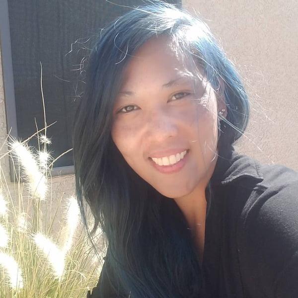 Teal Blue Black Long Asian Hair