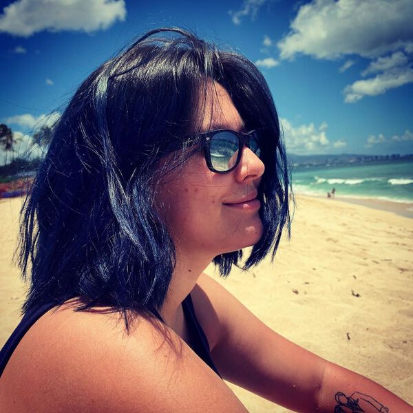 Violet Blue Black Medium Hairstyle